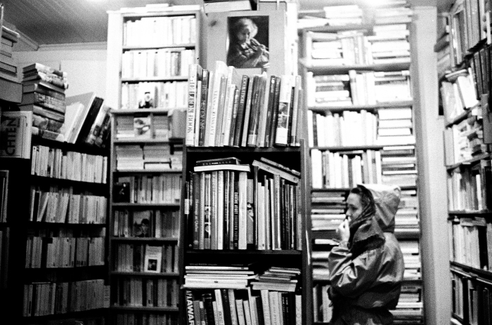 Ariel Soucy observes some books inside of the most famous independent bookstore in Montreal, Que., the Librairie Henri-Julien, on Tuesday, Nov. 24, 2015. From floor to ceiling, the bookstore is filled with books from all periods, at all prices. (Marie-Pierre Savard / JOUR523)