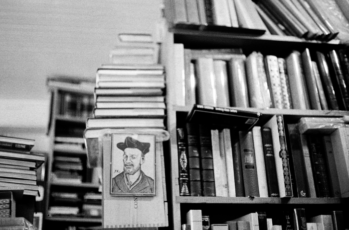 Detail from inside of the most famous independent bookstore in Montreal, Que., the Librairie Henri-Julien, on Tuesday, Nov. 24, 2015. On the wall, a drawing of Francois Rabelais, a French Renaissance writer, physician and humanist.(Marie-Pierre Savard / JOUR523)